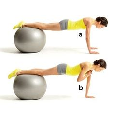 Stability Ball Plank with Shoulder Touch. Great for: Shoulder Stability, Core Stability, and Toning Arms