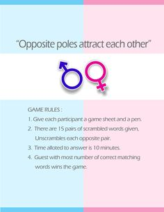 opposite poles a super fun and cute co ed wedding shower game printable