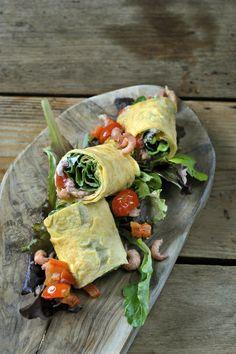 Eierpannenkoeken met ricotta en garnalen http://www.njam.tv/recepten/eierpannenkoeken-met-ricotta-en-garnalen