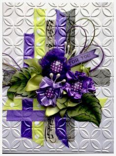CAS269Purple ribbon flowers