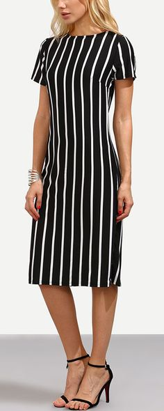 There's nothing risky in scooping up this staple. $7.99 can catch the summer cool. Nothing adds a stylish air to your outfit like a Black Vertical Striped Sheath Dress. Get it immediately at romwe.com!