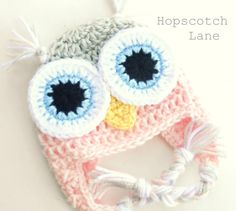 Crochet Owl Hat - Baby Owl Crochet Hat - Pink and Gray - Baby Girl Hat  - Photo Prop - Newborn Baby  Beanie on Etsy, $23.28 CAD