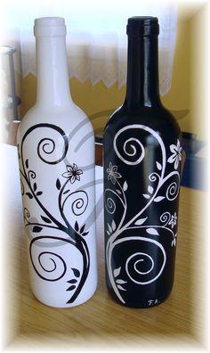 Wine Bottle Crafts Bottle Art Chalk Bottle Bottle Painting Glass Painting D Liquor Bottle Crafts, Wine Bottle Glasses, Wine Bottle Art, Diy Bottle, Diy Glasses, Bottle Lamps, Beer Bottle, Vodka Bottle, Painted Glass Bottles