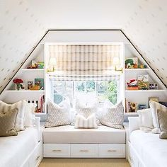 Attic Kids Bedroom, Transitional, girl's room, Shannon Wollack.... cottage life may work with few more kids!