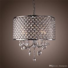 Modern Chandeliers with 4 Lights Pendant Light with Crystal Drops in Round, Ceiling Light Fixture for Dining Room, Bedroom, Living Room Online with $204.19/Piece on Chuangyijia's Store | DHgate.com