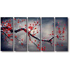 modern blossom tree landscape painting