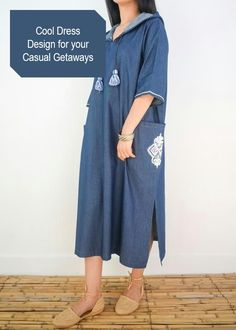 Very comfy and stylish for a perfect bohemian chic look. Kaftan Men, Caftan Dress, Abaya Fashion, Muslim Fashion, Fashion Outfits, Abaya Style, Mode Abaya, Moroccan Dress, Couture Embroidery