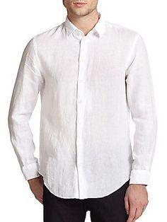 Giorgio Armani Linen Sportshirt - White - Size M