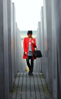 Berlin Holocaust memorial. OOTD Zara red coat, Jaws shirt, leather pants, Pull & Bear ankle boots, Zara cat ears hat with Chanel Grande Shopping Tote -> pret-a-porter-sini.blogspot.fi/