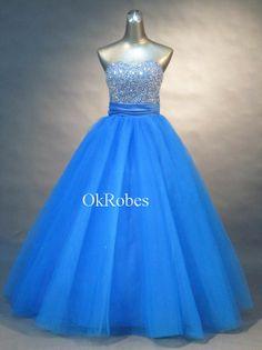 Long Sequin Prom Dress Blue Sweetheart Sleeveless by OkRobes, $155.00
