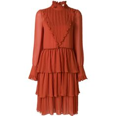 See By Chloé tiered peasant dress ($595) ❤ liked on Polyvore featuring dresses, red, red peasant dress, long sleeve boho dress, long sleeve dress, red ruffle dress and keyhole dress