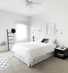How to Achieve a Minimal Scandinavian Bedroom Tips for styling a modern and Scandinavian interior. Light and neutral monochrome bedroom. Monochrome Bedroom, Minimal Bedroom, Stylish Bedroom, Modern Bedroom, Bedroom Decor, Bedroom Ideas, Clean Bedroom, All White Bedroom, Small Bedroom Designs