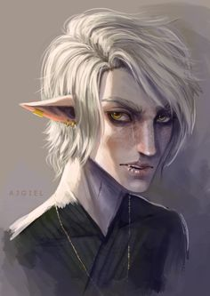 First he was supposed be the cutest elf boy. But somewhere along the way I stopped liking to have all bishounen characters and made everybody's faces less perfect. So he ended up looking kinda like mix of an opossum and a junkie.