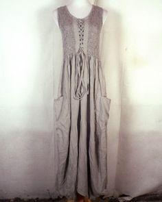 NWT new Lotus Traders Gray Hippie Boho Corset Top Maxi Dress Peasant wench M #LotusTraders