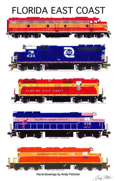 """An 11""""x17"""" poster with 5 of Andy Fletcher's hand drawings of FEC locomotives."""