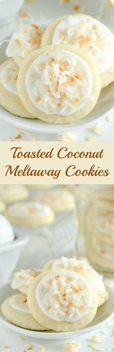 Food Recipes On Food Recipes On The Truth About Cholesterol Https T Co Pabsftvhxb Coconut Meltaway Cookies A Soft Coconut Shortbread Cookie Topped With Royal Icing And Toasted Coconut Coconut Desserts, Coconut Recipes, Cookie Desserts, Just Desserts, Baking Recipes, Delicious Desserts, Dessert Recipes, Yummy Food, Coconut Cookies