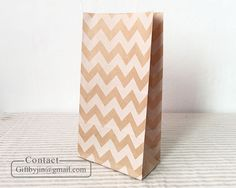 Chevron Kraft Brown Paper Party Wedding Birthday Gift Favor bags_flat bottom bag #GiftFrom #Anyoccasion