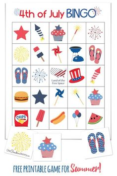 of July Bingo Cool summer game perfect for a of July picnic or family reunion! of July Bingo {} Free Printables - 10 Boards and calling cards 4th July Crafts, Fourth Of July Crafts For Kids, 4th Of July Games, Patriotic Crafts, Patriotic Party, 4th Of July Celebration, 4th Of July Party, July 4th, Happy Birthday America