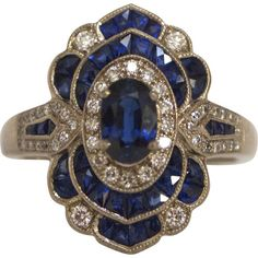 Art Deco 18KT White Gold French Cut Deep Blue Sapphire & Diamond Ring at RubyLane. Jewellery