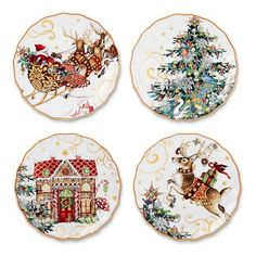'Twas The Night Before Christmas Salad Plates, Set of 4, Santa #williamssonoma