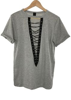 - Women lace-up tee - roll-up sleeve - lace-up contrast front - 90% cotton and 10% polyester - made in USA