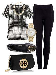 """""""black white and gold"""" by haleighhurst ❤ liked on Polyvore featuring Helmut by Helmut Lang, J.Crew, Tory Burch, Michael Kors, women's clothing, women's fashion, women, female, woman and misses"""
