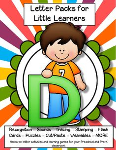 LETTER D Letters for little learners, 62 pg. - recognition, sound, tracing and craftivities. Low prep. Appropriate for pre-readers.