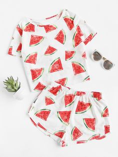 Shop Watermelon Print Frayed Dot Tee And Shorts Set online. SheIn offers Watermelon Print Frayed Dot Tee And Shorts Set & more to fit your fashionable needs. Cute Lazy Outfits, Outfits For Teens, Girl Outfits, Cute Pajama Sets, Cute Pjs, Jugend Mode Outfits, Cute Sleepwear, Pajama Outfits, Cozy Pajamas