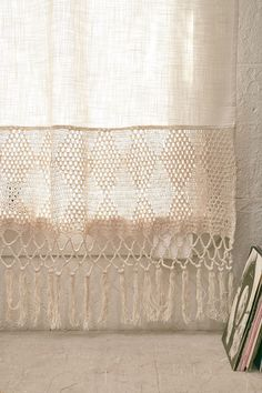Shop Delilah Crochet Curtain at Urban Outfitters today.Dip Dye a crochet curtain, leaving bottom white for nice minimalist yet cozy effect Crochet Curtains, Cortinas Boho, Macrame Curtain, Curtain Patterns, Linens And Lace, Window Panels, Antique Lace, Crochet Home, Quilts