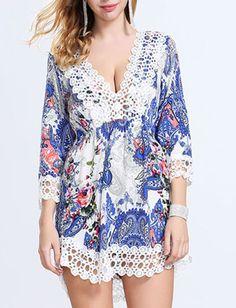 Lace Edge V-Neck Floral Printed Summer Dress