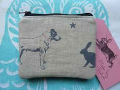 Handmade Card Coin Purse Peony And Sage Dog Rabbit Pouch Harris Tweed Padded in Clothes, Shoes & Accessories, Women's Accessories, Purses & Wallets | eBay