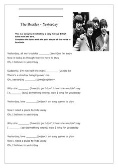 Song Worksheet: Yesterday by The Beatles (Past Simple)