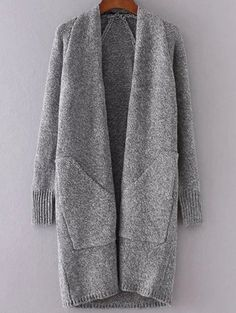 Grey Collarless Long Sweater Coat With Pockets Long Sweater Coat, Long Sweaters, Long Cardigan, Gray Sweater, Longline Cardigan, White Sweaters, Fall Winter Outfits, Autumn Winter Fashion, Fall Fashion