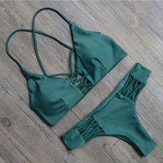 Green Bandage Swimsuit Bikini Set For Women