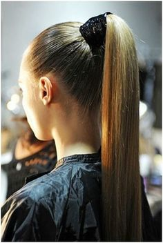 sleek ponytail with a wide band