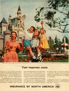 Disneyland in a 1957 advertisement.  wow…look how casual Mom & Dad are…no gloves or tie! lol -
