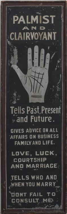 PALMIST AND CLAIRVOYANT AMERICAN PAINTED ADVERTISING SIGN. | Northeast Auctions