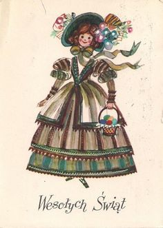 Danuta Imielska-Gebethner (b.1931) — Wesołych Swiąt   (640x900) Art Costume, Costumes, Newbery Medal, Polish Folk Art, American Children, Vintage Easter, Book Illustration, Vintage Postcards, Vogue