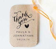 Personalized Custom Wood Handle Wedding Favor Tag Rubber Stamp, Calligraphy,  Wedding, Wedding Favor Tag, Wedding Thanks You