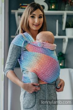 88a5fcfd163 WRAP-TAI carrier Mini with hood  jacquard twill   100% cotton   BIG LOVE -  RAINBOW