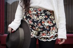Frilly Floral Shorts & Black Tights
