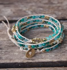 Green stone mix Wrap Bracelet Boho bracelet Bohemian