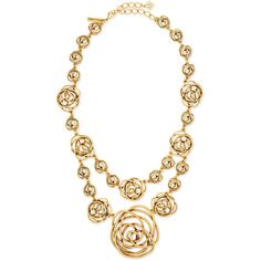 Oscar de la Renta Rose-Motif Wire Necklace ($455) ❤ liked on Polyvore featuring jewelry, necklaces, gold, chain jewelry, lobster claw clasp charms, charm chain necklace, oscar de la renta jewelry and rose charm