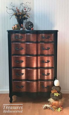 """""""I painted this piece with General Finishes Lamp Black and also their Copper Pearl paint. Absolutely love working with these products!"""" - Treasures Rediscovered Sofa Ideas, Furniture Ideas, Home Furniture, Homemade Furniture, Lounge Sofa, March, Dresser, Living Room, Home Decor"""