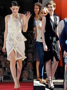 ROONEY VS. ANNE    Rooney Mara y Anne Hathaway apostaron por el mismo diseño de Riccardo Tisci para Givenchy. La protagonista de The Girl with the Gragon Tattoo se lo puso en febrero para un evento en Tokio. Anne lo lució hace unas semanas en la ceremonia durante la cual el director de su filme Dark Knight Rises, Christopher Nolan, plasmó sus huellas en el Paseo de la Fama de Hollywood.