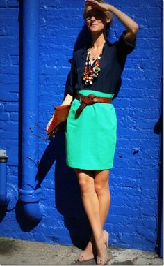 This is a good outfit to wear to work during the summer! Love the color combo