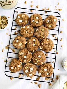 Soft Baked Pumpkin Snickerdoodle Cookies with White Chocolate Chips are soft, moist, chewy and perfect for fall or the holidays! Made with healthier ingredients like unsweetened apple sauce, coconut sugar, whole wheat flour, and pumpkin. #pumpkin #pumpkincookies #cookies #healthyrecipes #healthybaking