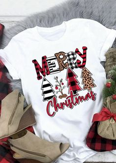 Merry Christmas Trees Plaid Striped Leopard Printed T-Shirt Tee - White # -shirts We offer to you women's clothing, shoes, jewelry, bags and much more. Plaid Christmas, Christmas Shirts, Christmas Sweaters, Christmas Trees, Merry Christmas, Christmas Outfits, Hallmark Christmas, Christmas Pajamas, Christmas Movies