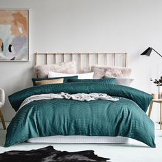 Check out those faux fur, soft pink Euro's paired with the Linden Emerald quilt cover. We've taken winter styling up a notch. Dream Bedroom, Home Bedroom, Bedrooms, Sofa Furniture, Furniture Design, Guest Bedroom Decor, Bedclothes, Buy Bed, Linen Bedding