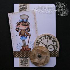 cartão artesanal feito com carimbo Meljen's Designs.